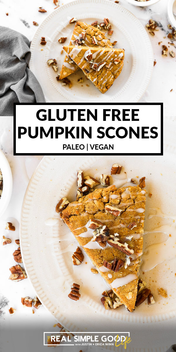 Vertical split image with text overlay in the middle. Top image of two gluten free and vegan pumpkin scones on a plate. Bottom image close up of one scone on a plate. Icing and chopped pecans on top.