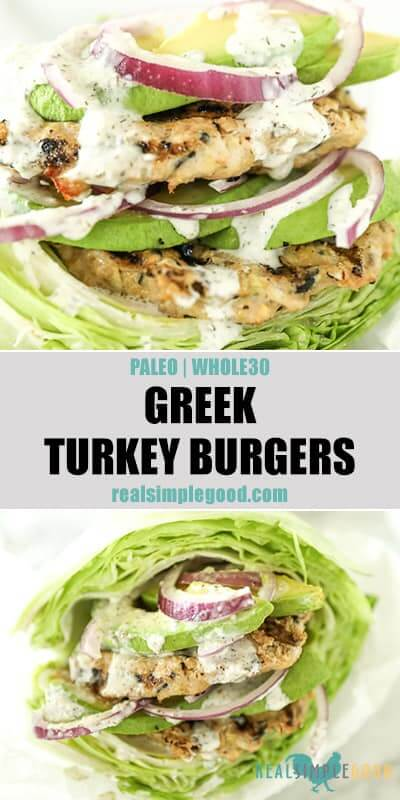 Two close up images of Greek turkey burgers wrapped in lettuce with tzatziki sauce dripping down the sides. Toppings include avocado and red onion. Text overlay between images for pinterest.