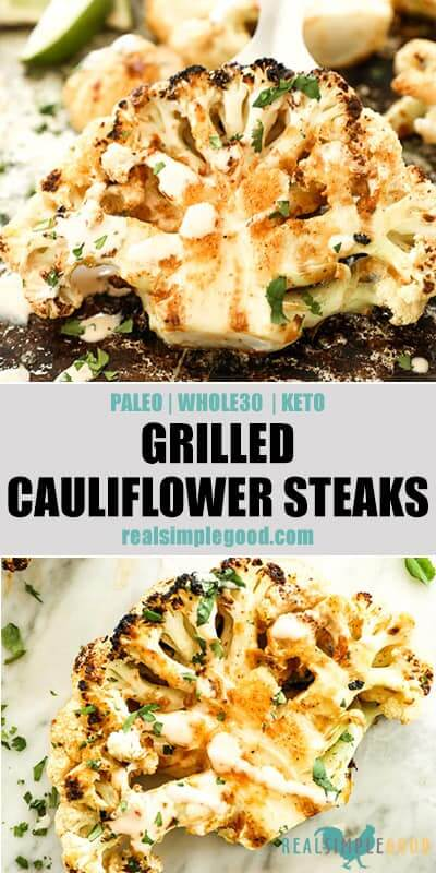 Two close up images of grilled cauliflower with text in the middle for pinterest.