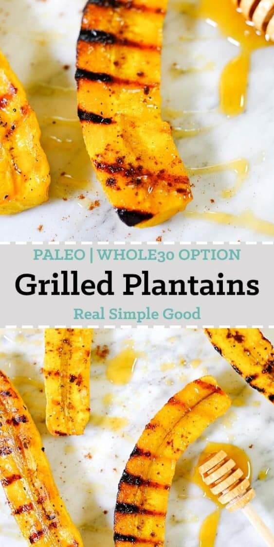 Grilled plantains spread out on marble with honey and cinnamon long pin.