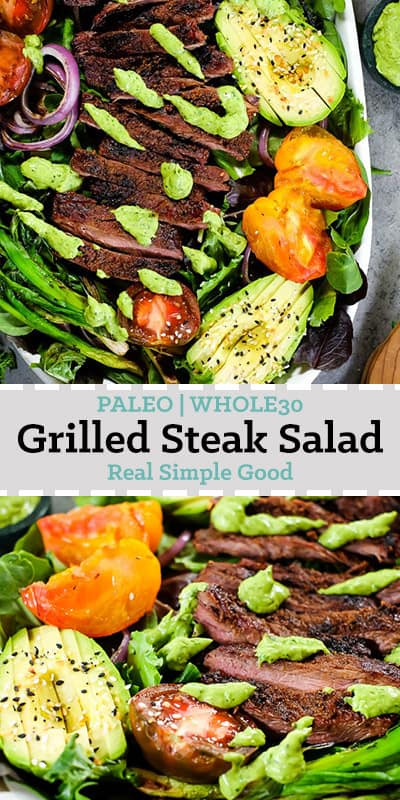 All the summer vibes are settling in! You know....grilling, hanging out on patios, soaking up the sunshine and breeze. This Paleo and Whole30 grilled steak salad is full of fresh, seasonal summer vegetables and a tasty green dressing! | realsimplegood.com #paleorecipe #whole30recipe #summerdinner #grill #greensauce via @realsimplegood