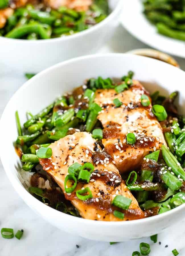 Grilled Teriyaki Salmon Bowls (Paleo + Whole30)