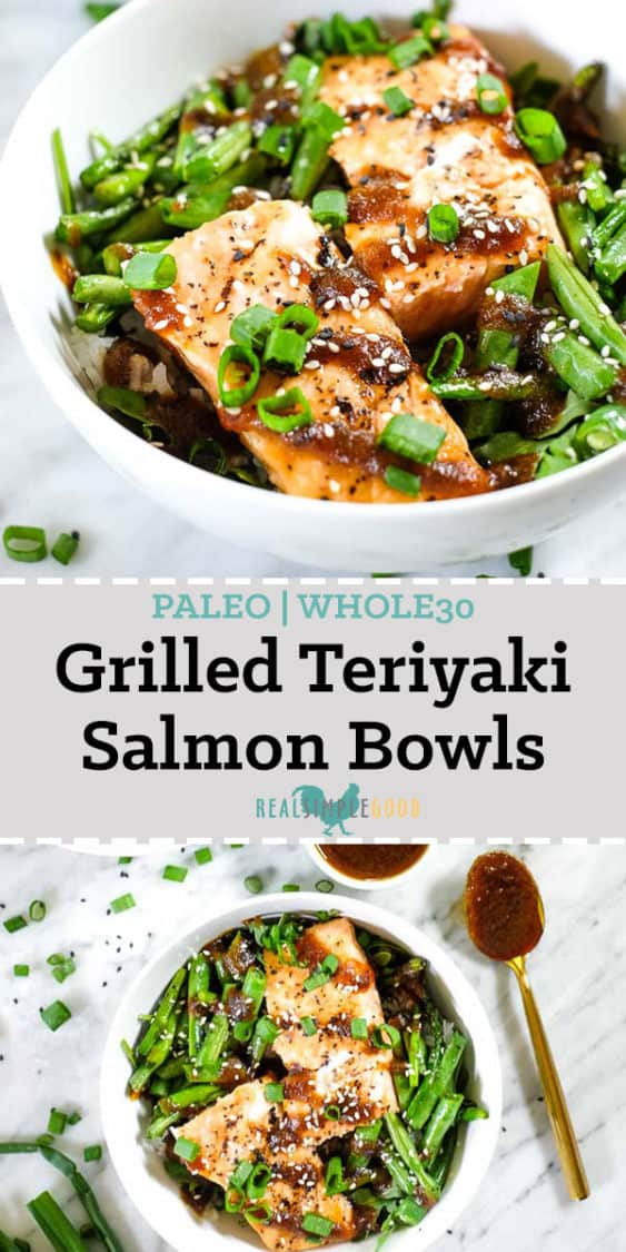 Grilled teriyaki salmon in a bowl with green beans, asparagus, rice and greens. Topped with teriyaki sauce, green onion and sesame seeds long pin.