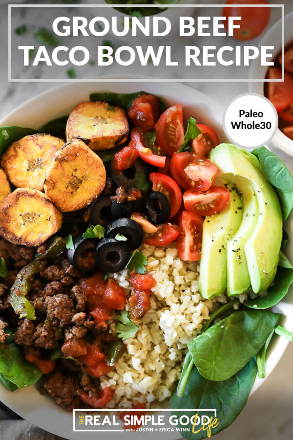ground beef taco bowl recipe pin image with close up of bowl and text at the top