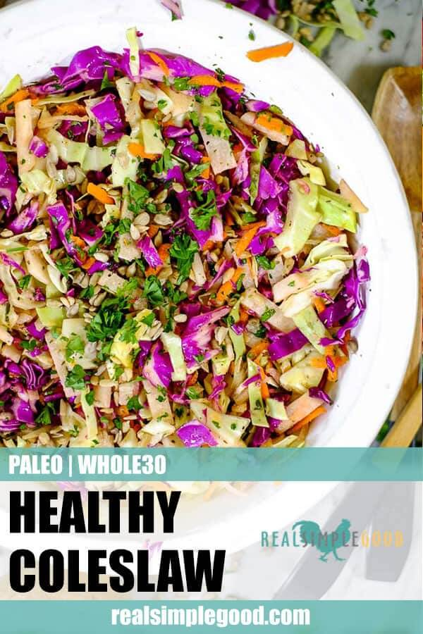 Healthy coleslaw in a serving bowl long pin.