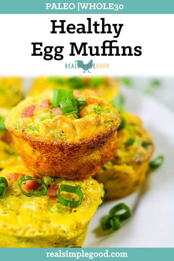 Healthy egg muffins with chopped green onion long pin.