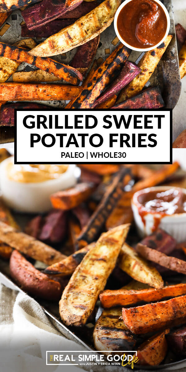 Vertical split image of grilled sweet potato fries with text overlay in the middle. Top image is overhead image of fries on pan with ketchup. Bottom image is angled close up of fries.