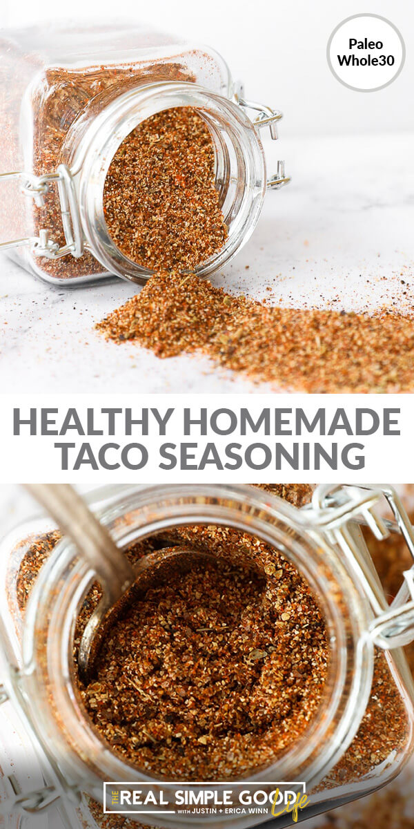 Split image with text in middle. Taco seasoning spilling out of jar on top and overhead close up of seasoning in jar bottom
