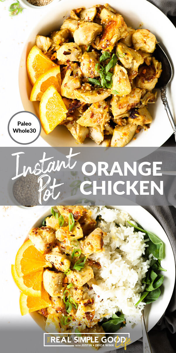 Split image with text in middle. Orange chicken in a bowl with spoon on top and orange chicken with rice and greens on bottom.
