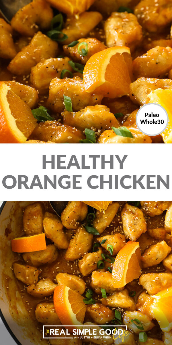 Image with text in middle. Close up of orange chicken pieces on top and chicken pieces in the pan with orange wedges bottom