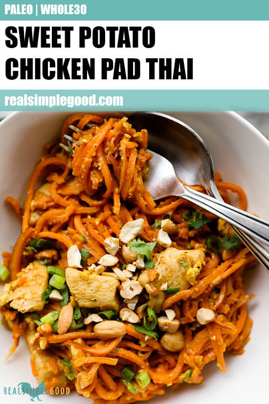 Close up image of healthy pad thai in a bowl with text overlay at top.