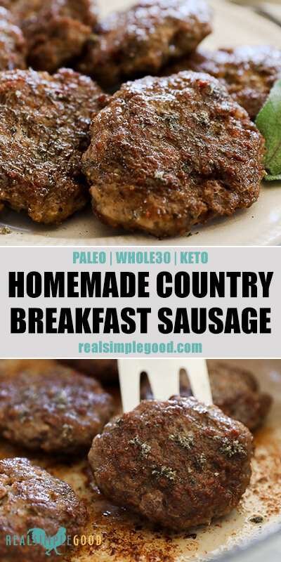 Two close up images of homemade country breakfast sausage patties with text overlay in the middle. Top image of patties on a plate and bottom image of lifting patty out of skillet.