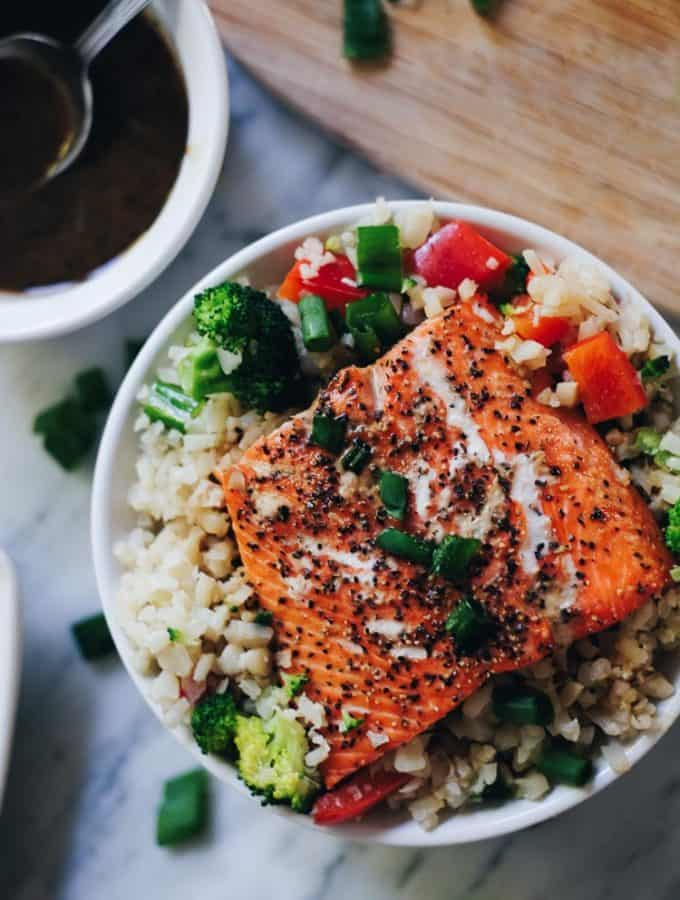 Honey Ginger Salmon Bowls (Paleo, GF + Soy-Free)