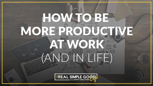 """Horizontal image of people working around a table with laptops, notebooks, coffee, phones, etc. with text overlay that says, """"how to be more productive and (and in life)""""."""
