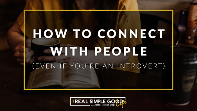 "Woman at table with book. Text overlay of ""how to connect with people, even if you're an introvert"""
