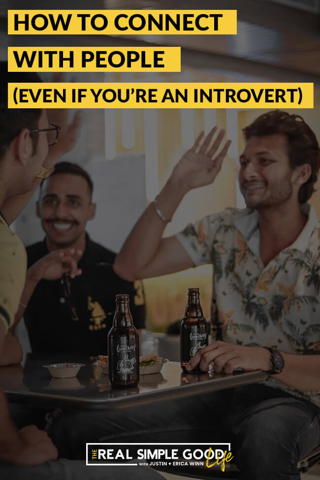 "Men at table with beer. Text overlay of ""how to connect with people, even if you're an introvert"""