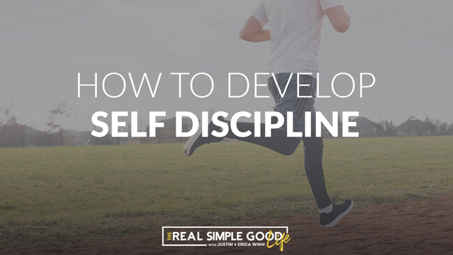Person running on dirt track with text overlay of how to develop self discipline