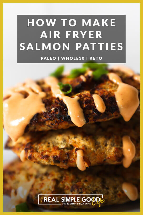 Stack of salmon patties with sauce on top and text overlay