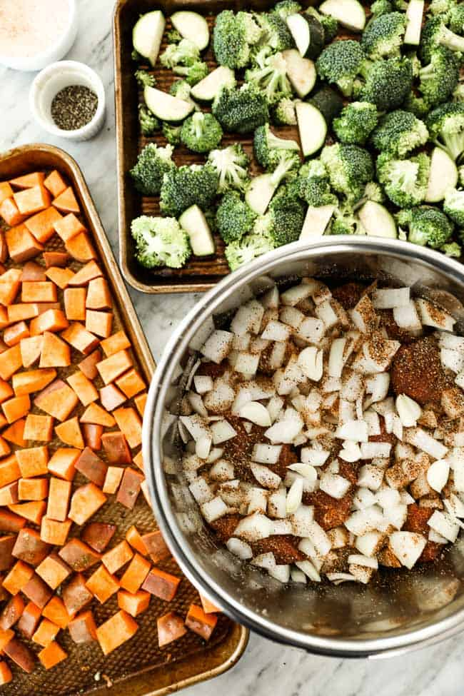 Veggies on sheet pan and roast in instant pot