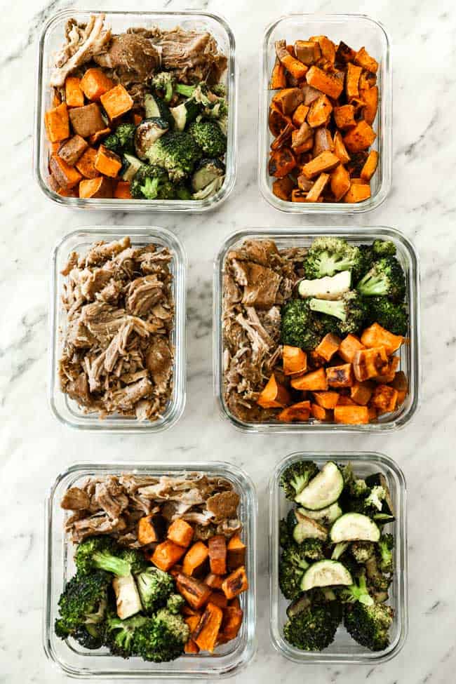 Containers with meat, sweet potato and veggies