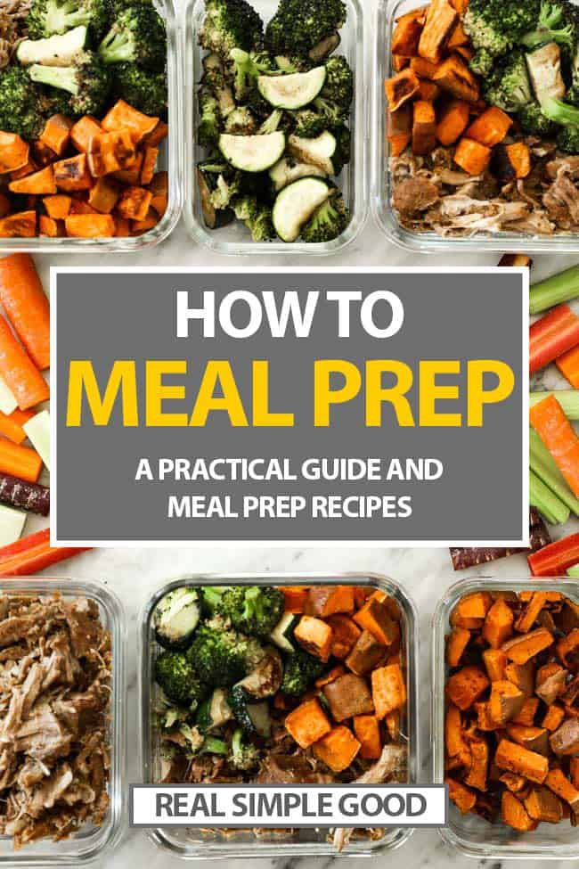 Finished containers with prepped food with how to meal prep text overlay