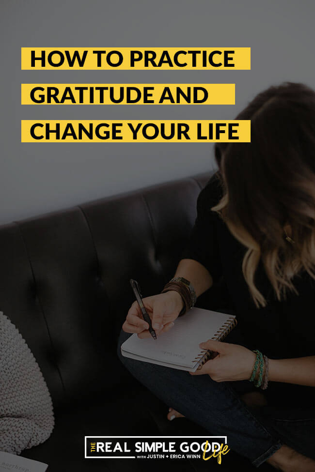 Vertical image of woman journaling on couch with text overlay saying How to Practice Gratitude and change your life.