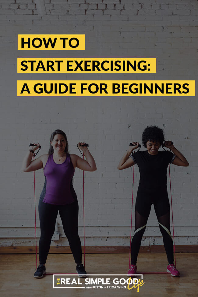 Two women doing band exercises with text overlay of how to start exercising a guide for beginners