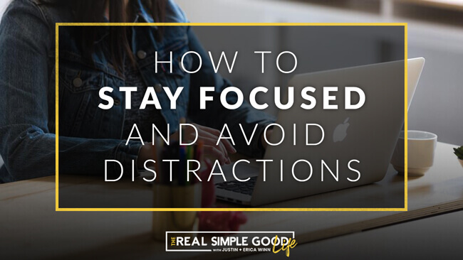 Woman at desk on computer with text overlay of 5 tips how to stay focused and avoid distractions