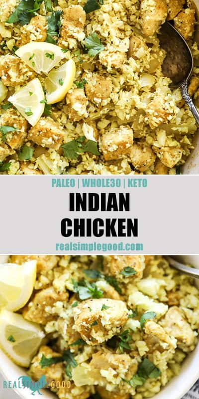 Overhead shot of indian chicken in pan and in a bowl. Text in middle