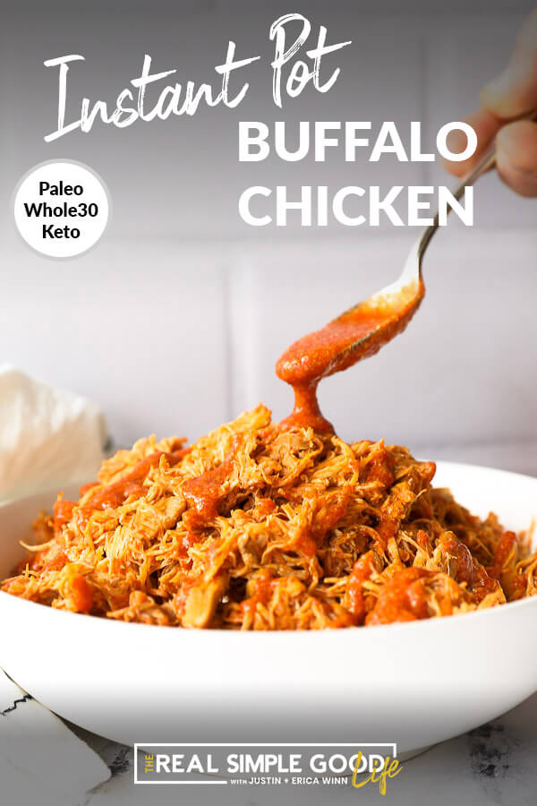 Bowl of buffalo chicken with spoon pouring on sauce and text at top