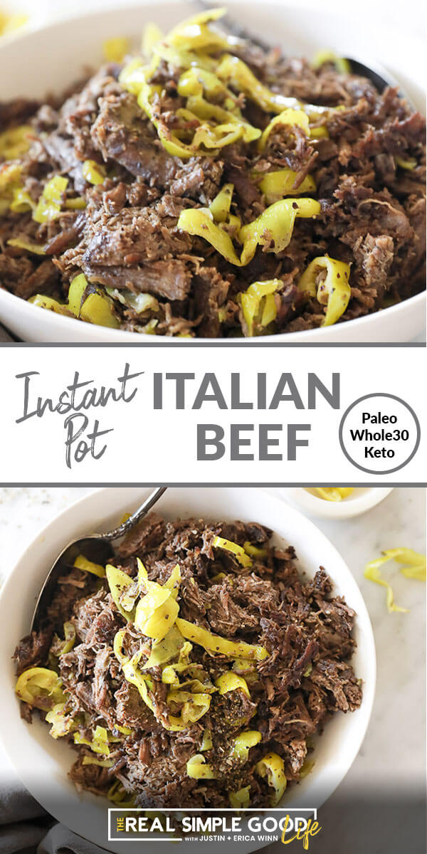 Split image with text in middle. Shredded beef and peppers close up angle image at top and shredded italian beef in a bowl overhead image at bottom