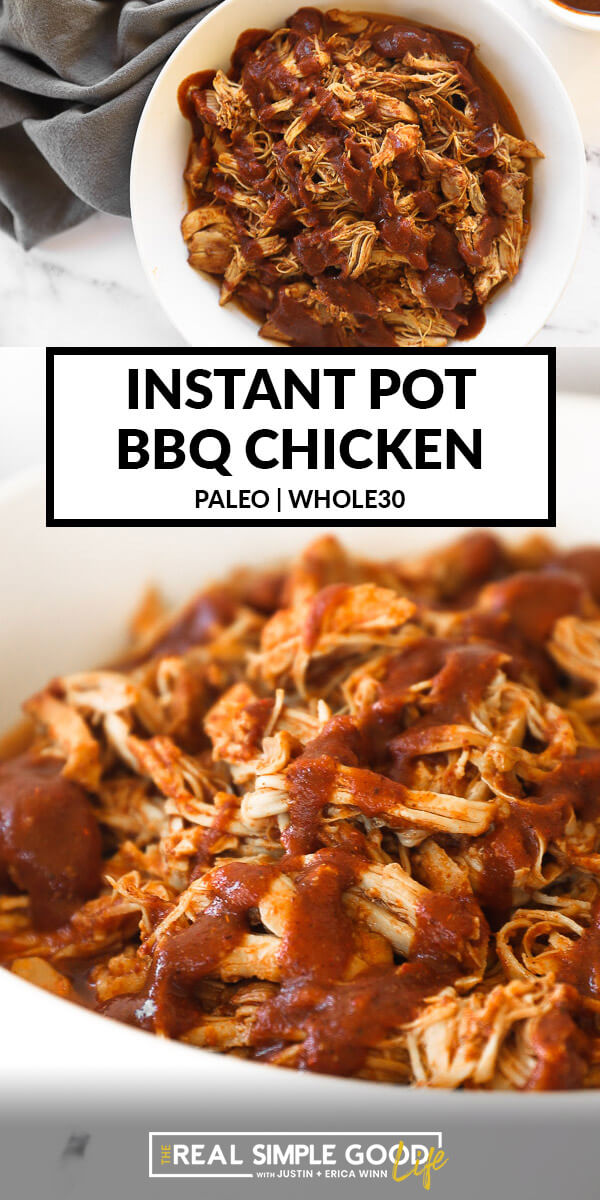 Split image with text in middle. Overhead image of shredded chicken in a bowl on top and close up image of chicken covered in bbq sauce on the bottom