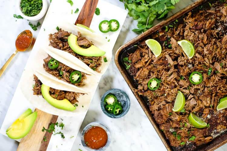 Instant pot carnitas in tacos and on a sheet pan