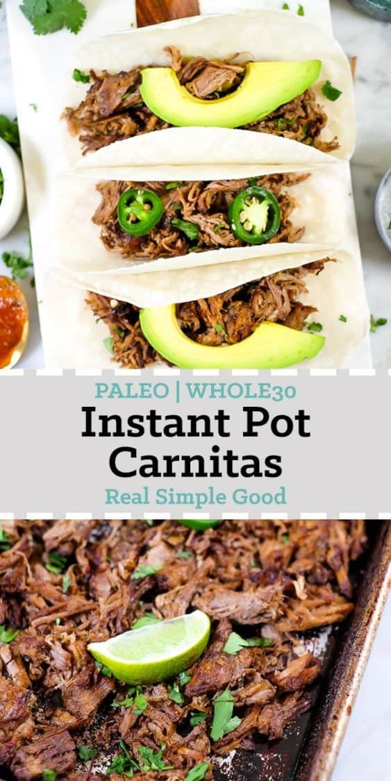 Split image with text in the middle. Tacos at top and instant pot carnitas on sheet pan on bottom.