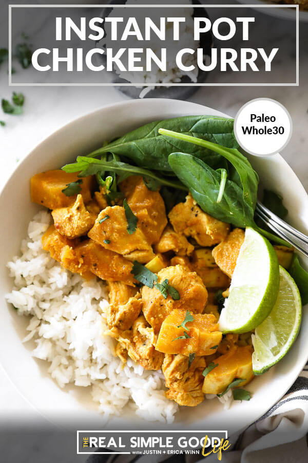 Instant pot chicken curry in bowl with rice, spinach and lime horizontal close up image with text at top