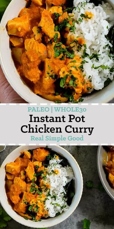 Instant pot chicken curry with white rice and cilantro garnish long pin.