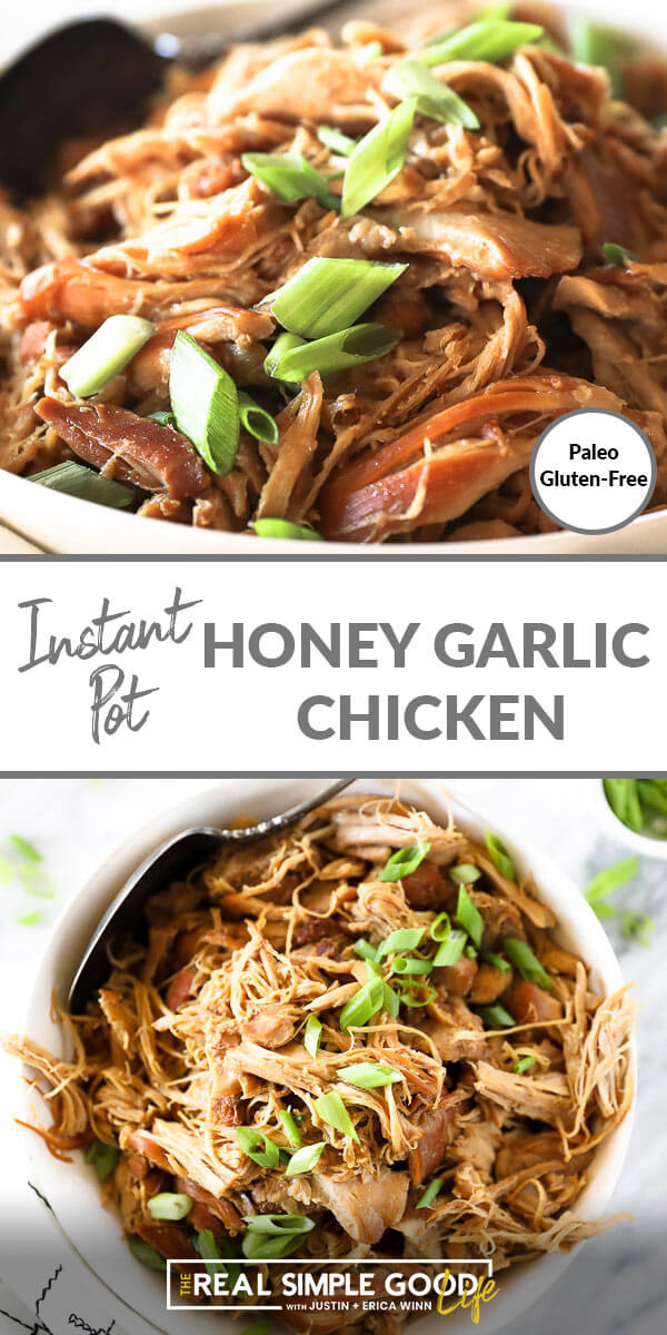 Vertical split image with text overlay in the middle. Top image close up angled image of honey garlic chicken. Bottom image of chicken a bowl with a serving spoon.