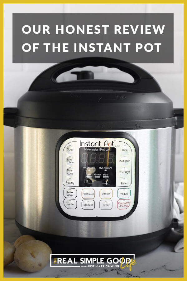 Close up straight on image of an instant pot with header text at top