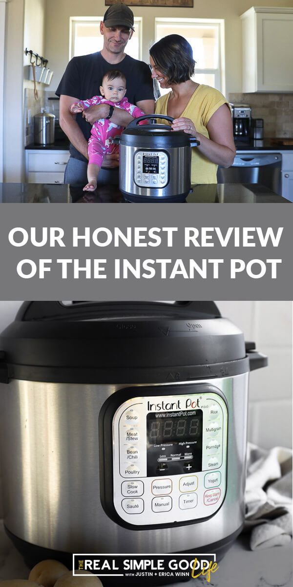 Split image with text in the middle. Family in the kitchen with an instant pot on top and a close up picture of an instant pot on the bottom