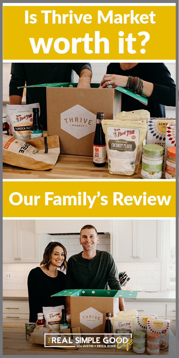 Split image with text overlay of is thrive market worth it, our family's review. Images of couple with a box and food products on the counter.