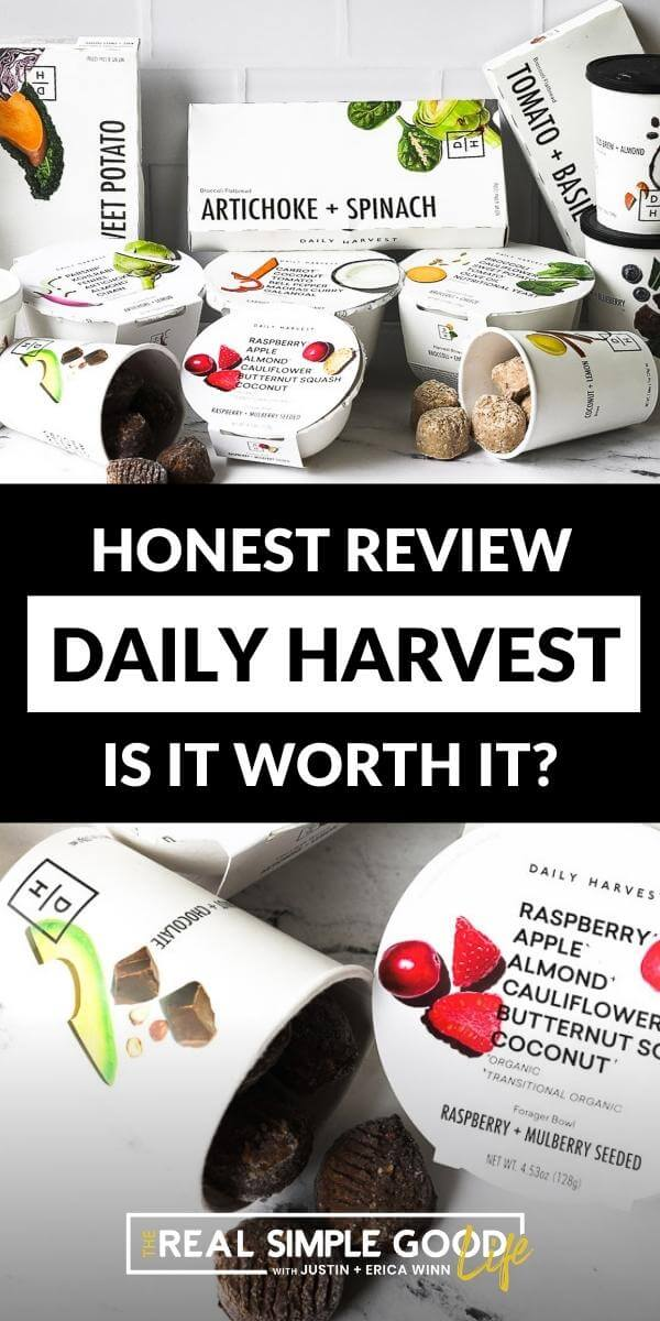 Vertical split image with text overlay in the middle. Top image of assortment of Daily Harvest foods and bottom image a close up of a bowl and a cup of energy bites.