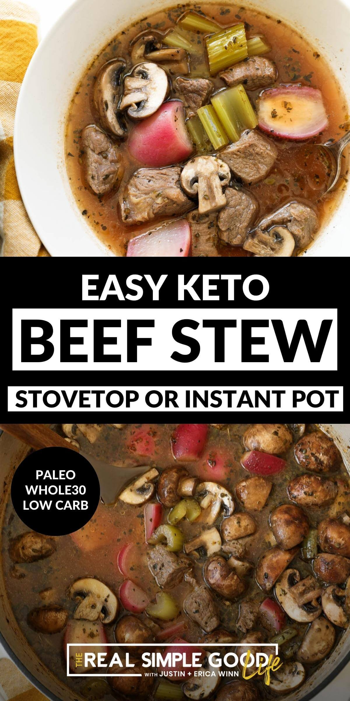 Keto Beef Stew (Stovetop or Instant Pot)