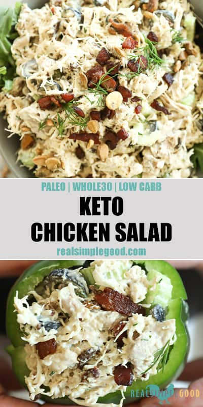 Keto chicken salad long pin image with text in middle