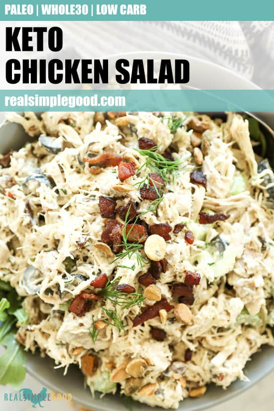 Keto chicken salad in a bowl with text at top