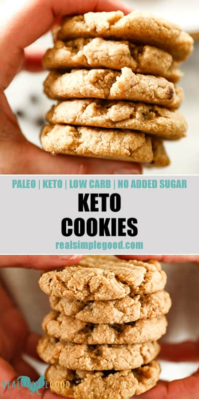 Two close up images of holding a stack of keto cookies with text overlay in the middle for pinterest.