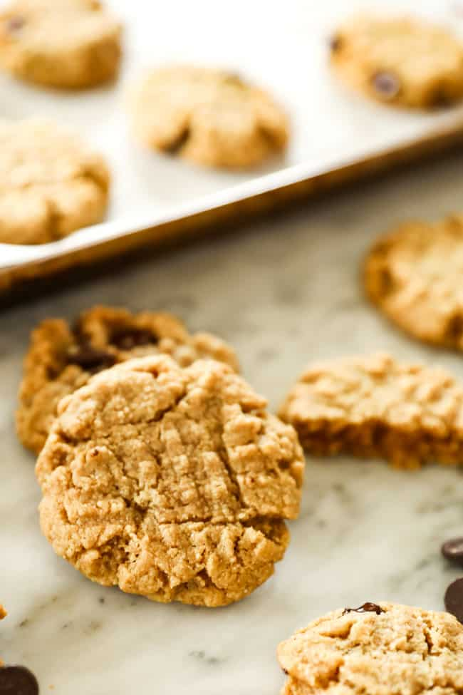 Close up of sugar-free peanut butter, keto cookie.