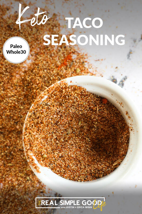Image with text a top of taco seasoning in a ramekin and seasoning spilled out