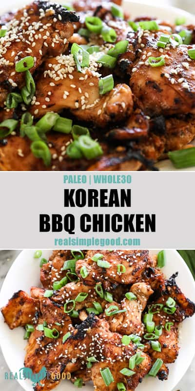 Two images of korean bbq chicken - one close up angle and one overhead on a plate with text overlay in the middle for pinterest.