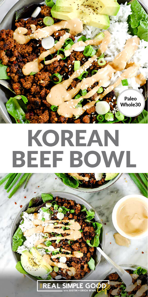 Split image of text in middle. Close up of bowl of beef, greens rice and avocado with sauce on top and pulled out image of the same bowl on bottom.