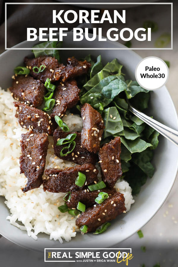 Korean beef bulgogi in a bowl with kale and rice close up vertical image with text at top